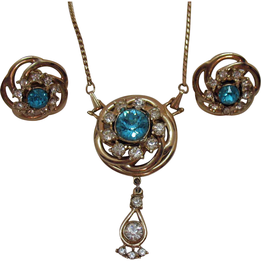 Vintage Unsigned Coro Rhinestone Convertible Necklace Brooch Earrings Set
