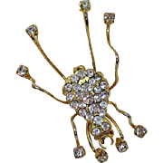 Darling Vintage Pave Rhinestone Belly Grasshopper Brooch