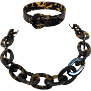 Unusual Vintage Leopard Lucite Necklace Buckle Bracelet Set
