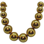 Bold Vintage Signed Napier Gold Beaded Chain Necklace