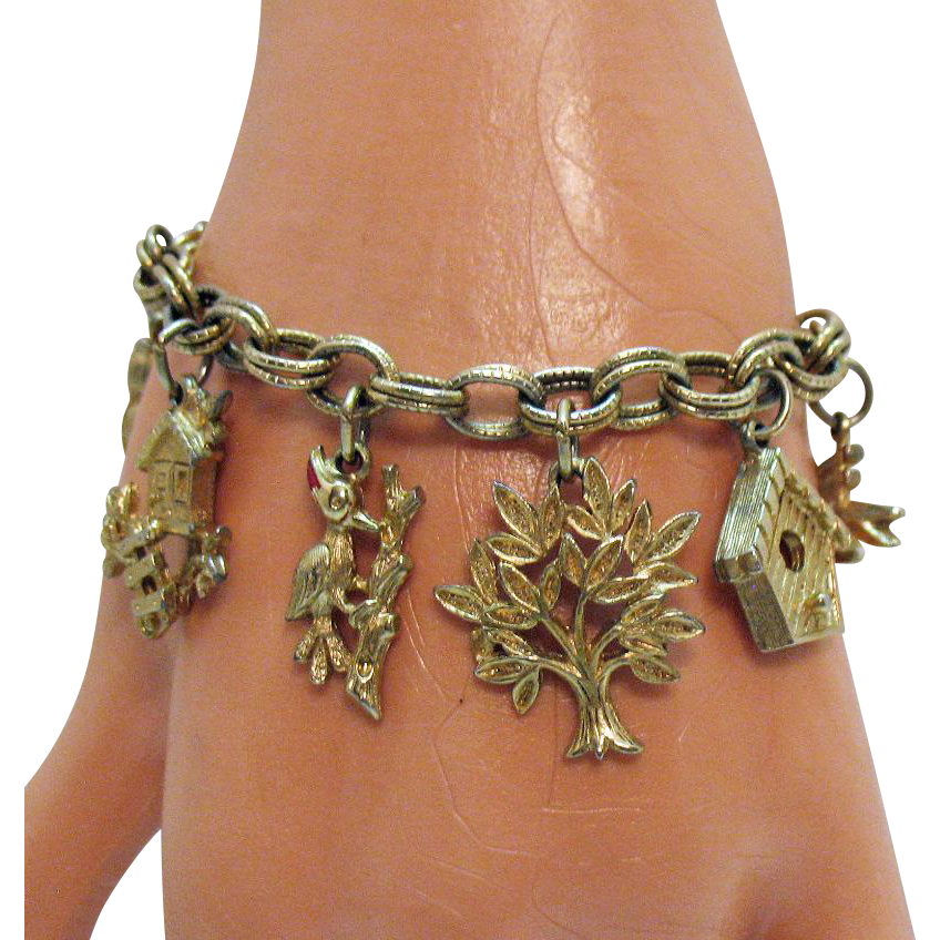 Vintage Bird's in the Park Costume Jewelry Charm Bracelet