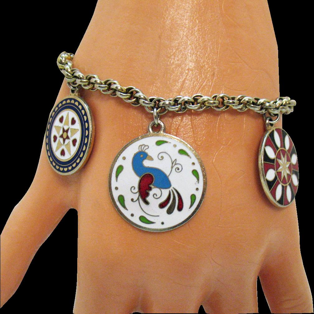 Beautiful Vintage Cloisonne Charm Bracelet