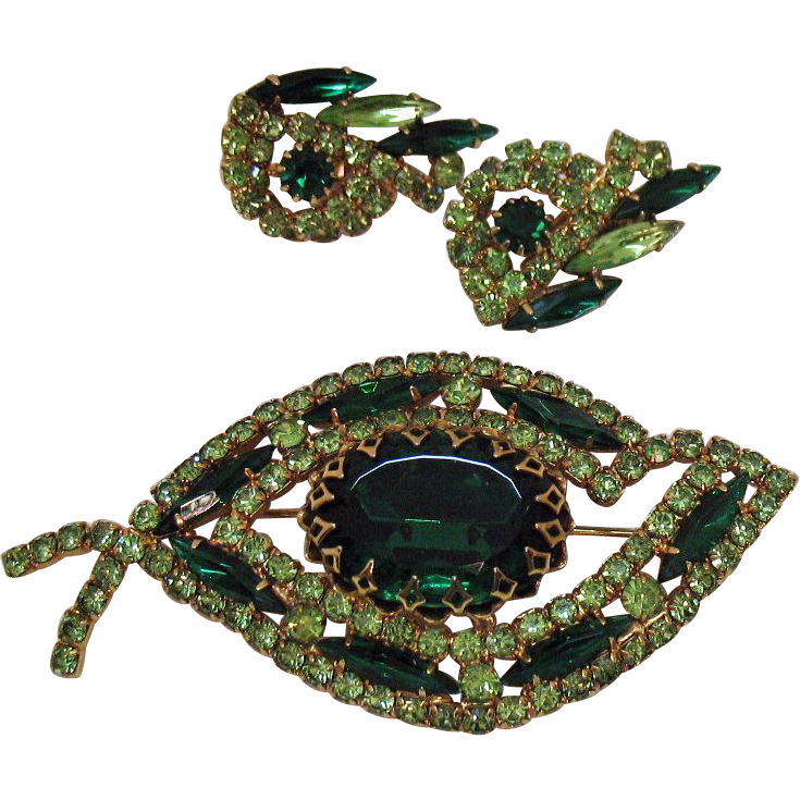 Signed Judy lee Vintage Super Sparkling Emerald Peridot Green Rhinestone Brooch Earrings Set