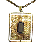 Stunning Signed A & Z Chain Company Vintage 12K Gold Filled Root Beer Glass Stone Pendant Necklace