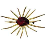 Unusual Vintage Sun Burst Abstract Red Glass Stone Brooch