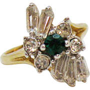 Vintage Cubic Zirconia Emerald Diamond Baguette 18K Gold Electric Plated Cocktail Ring