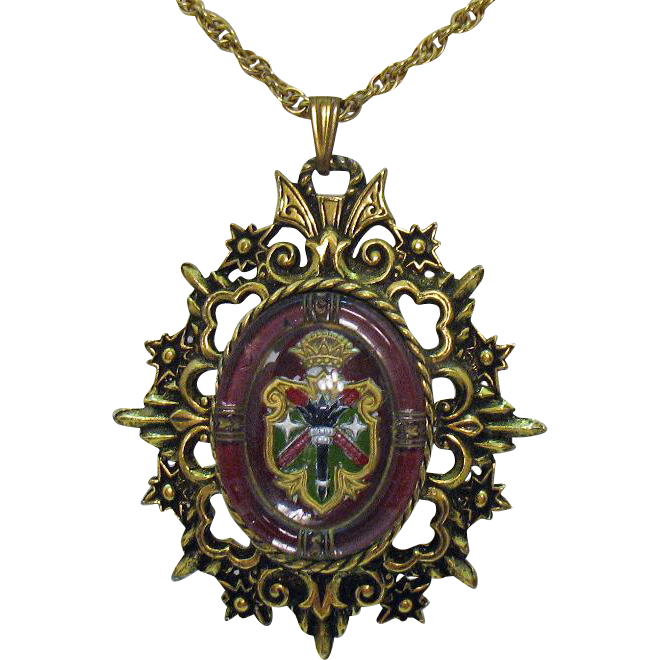 Unusual Vintage Crest Pendant under Glass Necklace