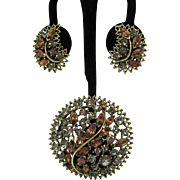 Unusual Vintage Grey Citrine Rhinestone Brooch Earrings Set