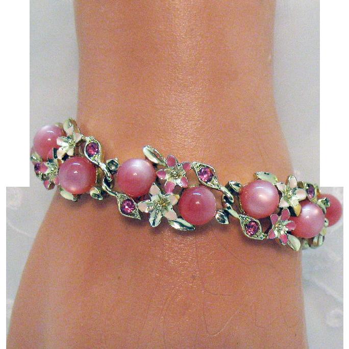 Vintage Pink Glass Moonstones Enameling Rhinestone Flower Bracelet