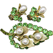 Fabulous Unsigned Alice Caviness Vintage Pearl Peridot Rhinestone Blossom Brooch Clip Earrings Set