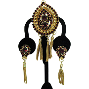 Vintage Juliana for Hobe Signed Gorgeous Rhinestone Tassel Brooch Dangle Screw Back Earrings