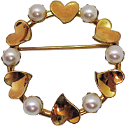 Very Pretty Vintage Signed Van Dell 12K Gold Filled Heart Cultured Pearl Eternity Brooch