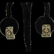 Stunning Vintage Signed Monet Pava Citrine Rhinestone Quarter Hoop Clip Earrings