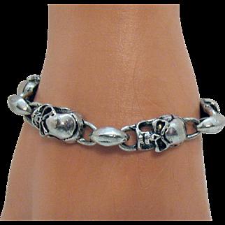 Fun Vintage Silver Metal Skull Link Bracelet Anchor Toggle Clasp