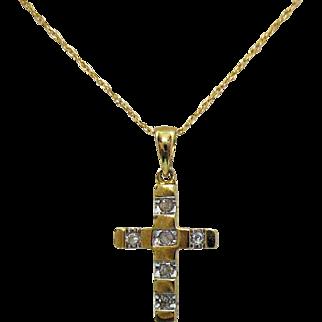 Beautiful Vintage 10K Gold Diamond Cross Pendant Necklace