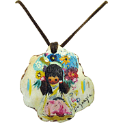 Unusual Vintage Signed Ted DeGrazia American Impressionist Painted Native American Wood Leather Necklace