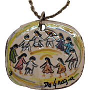 Unusual Vintage Signed Ted DeGrazia American Impressionist Painted Native American Wood Metal Chain Necklace