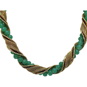 Fabulous Vintage Signed Napier Green Jadeite Glass Beaded Mesh Snake Skin Choker Necklace