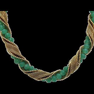 Fabulous Vintage Signed Napier Green Jadeite Glass Beaded Mesh Snake Skin Choker Necklace