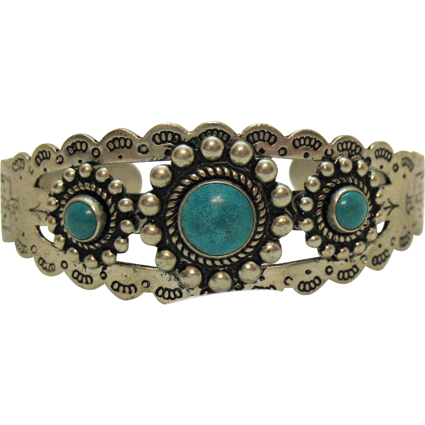 Vintage Signed Genuine Turquoise Nickle Silver Metal Story Telling Cuff Bracelet