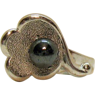 Vintage Signed Jewels by Park Lane Slate Colored Cultured Pearl Silver Metal Ring Size 6 ¾