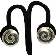 Unique Vintage Sterling Silver 925 Mexican Raised Oxidized Button Style Earrings
