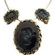 Vintage Signed W Germany Glass Intaglio Portrait Convertible Brooch Necklace Earrings Set