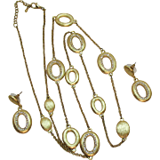 Stunning Vintage Pava Rhinestone Satin Gold Necklace Pierced Earrings Set