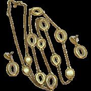 Stunning Vintage Pava Rhinestone Satin Gold Necklace Pierced Earrings Set