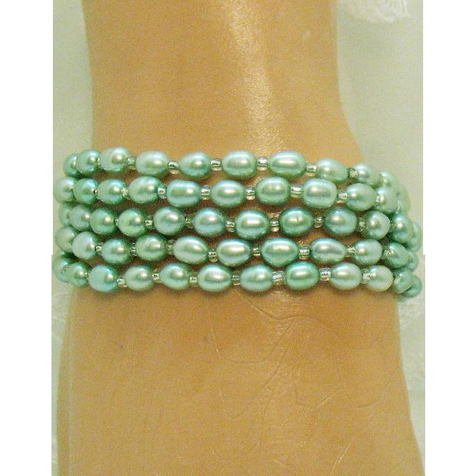 Set of Five Vintage Honora Teal Baroque Cultured Pearl Stretch Bracelets Swarovski Crystal Spacers