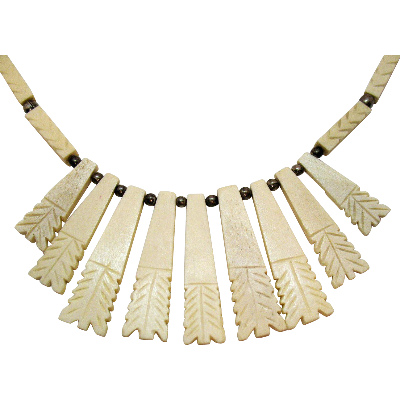 Fabulous Vintage Native American Indian Carved Buffalo Bone Necklace