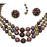 Gorgeous Vintage Signed Japan Peacock Lavender Gold Beaded Three Strand Necklace Matching Earrings