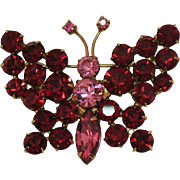 Glorious Vintage Ruby Red Pink Rhinestone Butterfly Brooch