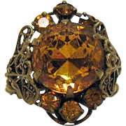 Gorgeous Vintage Sized Czechoslovakia Brass Glass Citrine Rhinestone Ring