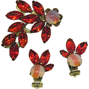 Magnificent Vintage Givre Glass Vivid Orange Navette Rhinestones Brooch Earrings Set