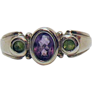 Beautiful Vintage Signed C A Sterling Silver Amethyst Peridot Gemstone Modernist Ring