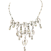 Vintage Signed Avon of Belleville Nina Ricce Silver Faux Pearl Crystal Beaded Waterfall Necklace