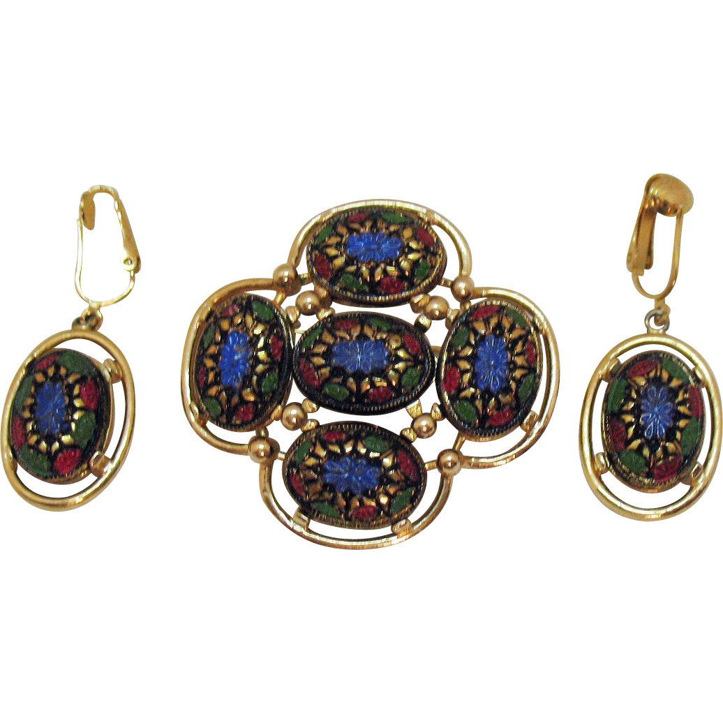 Vintage Signed Sarah Coventry 'Light of the East' 1968 Enameled Brooch Clip Dangle Earrings Set