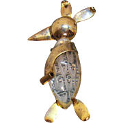 Vintage Brass Reversed Carved Clear Lucite Jelly Belly 1940s Penguin Brooch