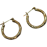 Gorgeous 14K Gold Vintage Twisted Pierced Hoop Earrings