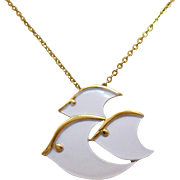 Rare Signed Crown Trifari Vintage White Enameled Three Fish Pendant Necklace