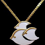 Rare Signed Crown Trifari Vintage White Enameled Three Fish Pendant Necklace