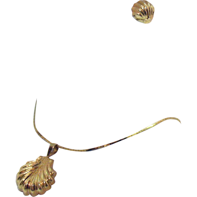 Vintage 14K Gold Clam Sea Shell Signed ZZ Necklace Pierced Earrings Italy 1970s