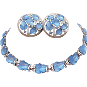 Rare Signed Crown Trifari Vintage Alfred Philippe Chalcedony Blue Glass Fruit Salad Necklace Earrings Set