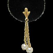 Gorgeous 14K Gold Fleur de lis Vintage Cultured Pearl Pierced Earrings