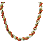 Rare Signed Napier Vintage Faux Pearl Coral Heavy Chain Necklace 12K Gold Filled 25 Inches Long