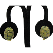 Stunning Vintage Genuine Green Moss Agate Scarab Screw Back Earrings 12K Gold Filled Signed W E Richards Jewelry Company