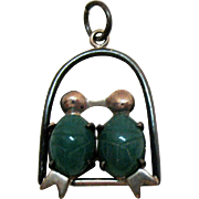 Vintage Signed W E Richards Company WRE Sterling Silver Jade Scarab Belly Love Bird Charm or Pendant