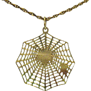 Vintage 12K Gold Filled Halloween Spider Web Pendant Necklace