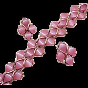 Vintage Pink Opalescent Diamond Shaped Thermoset Silver Bracelet Clip Earrings Set